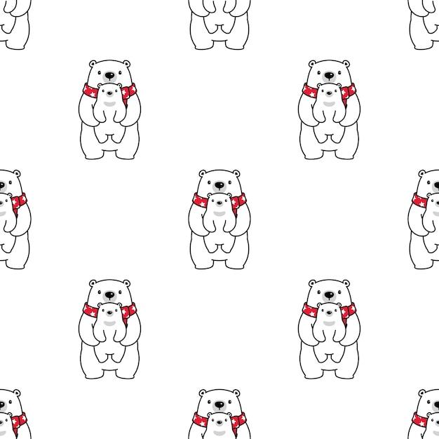 Urso de pelúcia de bebê polar sem costura padrão Vetor Premium