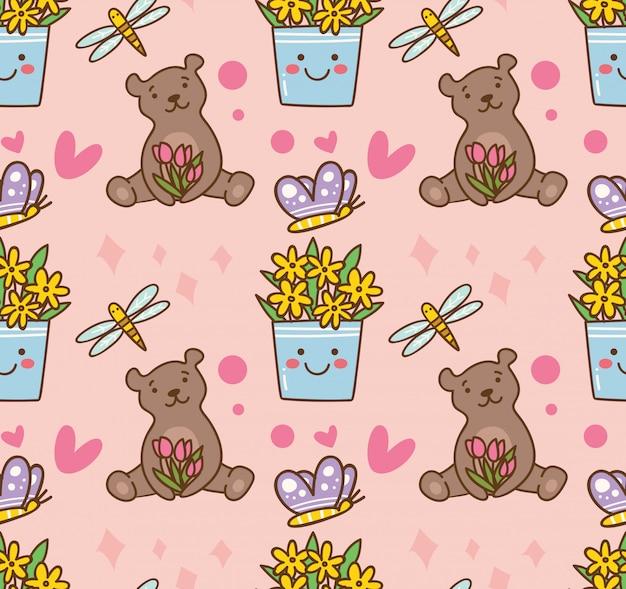 Urso de pelúcia e flor padrão sem emenda Vetor Premium