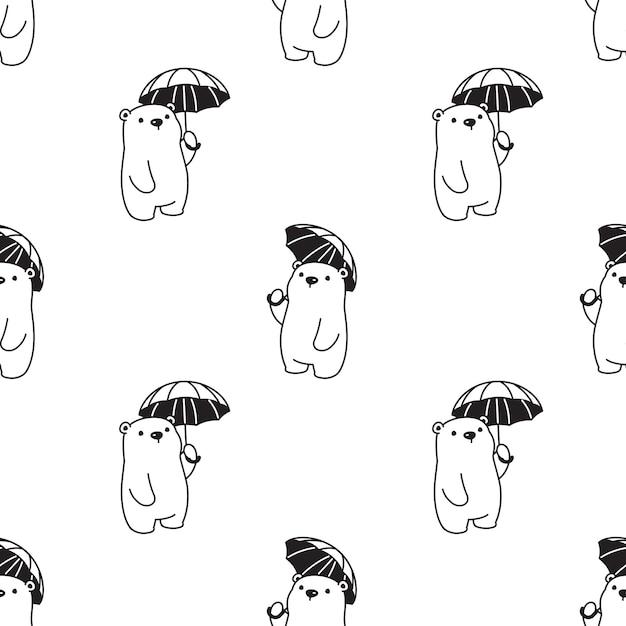 Urso de pelúcia guarda-chuva polar sem costura padrão Vetor Premium
