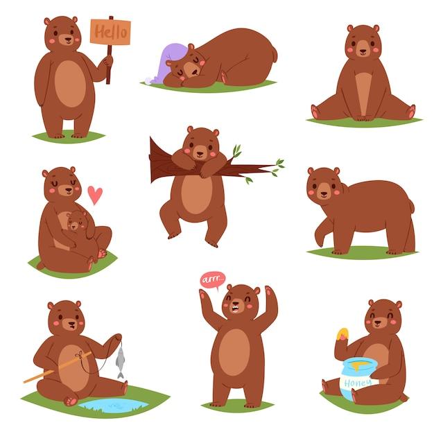Urso definir personagem animal dos desenhos animados e bonito marrom pardo comendo mel ilustração animal conjunto de ursinho infantil brincando ou abraçando com ela-urso no fundo branco Vetor Premium