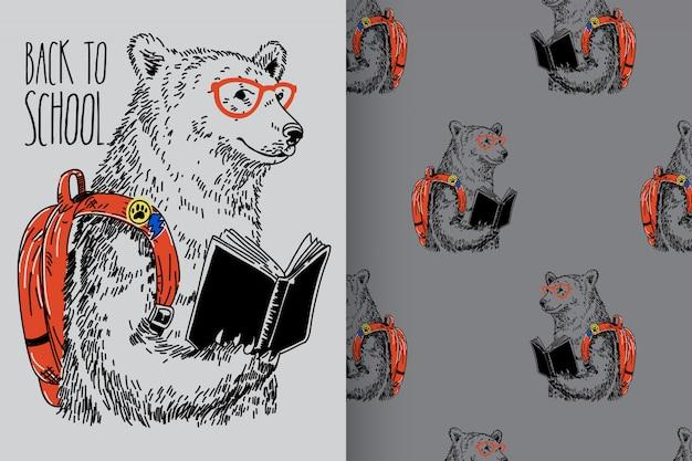 Urso desenhado de mão com padrão vector set Vetor Premium