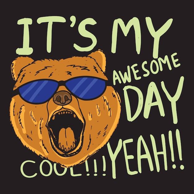 Urso desenhado mão com tipografia para camiseta Vetor Premium