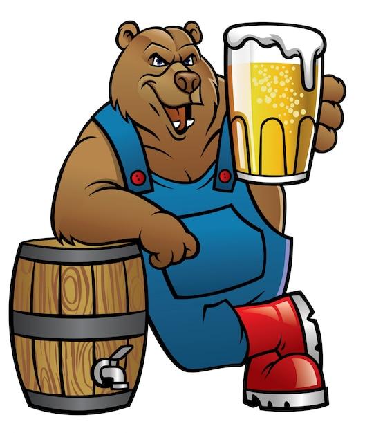 Urso Dos Desenhos Animados Magra No Barril E Apresentando A Cerveja Vetor Premium
