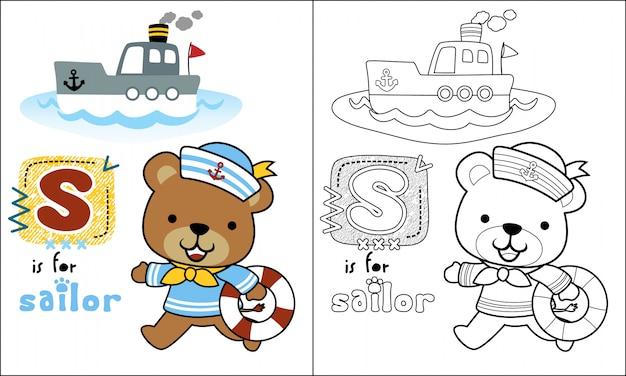 Urso Dos Desenhos Animados Marinheiro Com Barquinho Vetor Premium