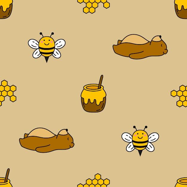 Urso e abelha sem costura vector de fundo Vetor Premium