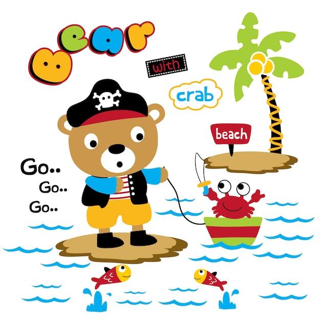 Urso e caranguejo engraçado animal dos desenhos animados, ilustração vetorial Vetor Premium