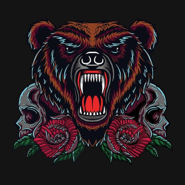 Urso e crânio t-shirt design Vetor Premium