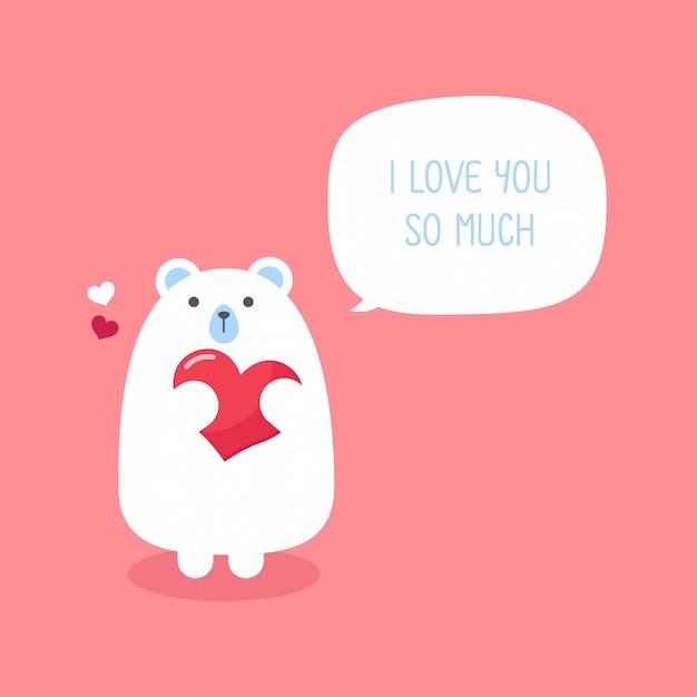Urso engraçado bonito com coração dia dos namorados cartão. Vetor Premium