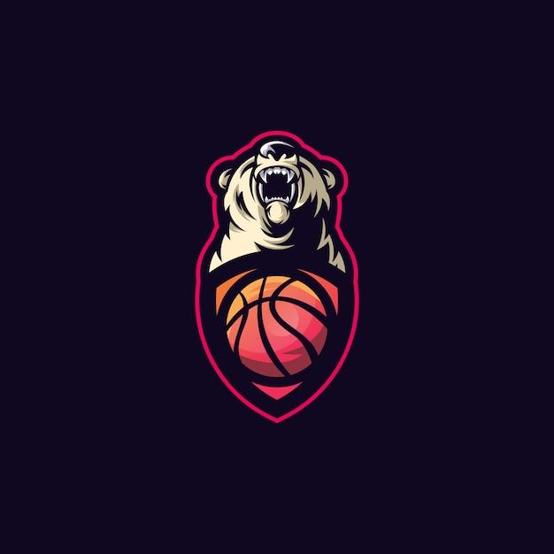 Urso esporte bola logo Vetor Premium