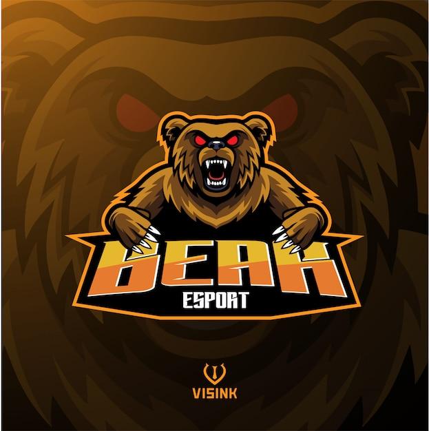 Urso esporte mascote logotipo Vetor Premium