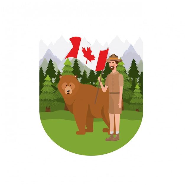 Urso floresta anima e rangerl do canadá Vetor grátis