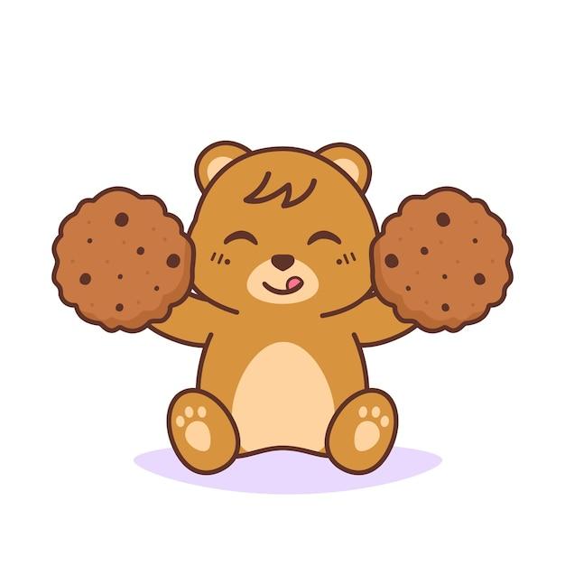 Urso fofo e feliz com biscoitos Vetor Premium