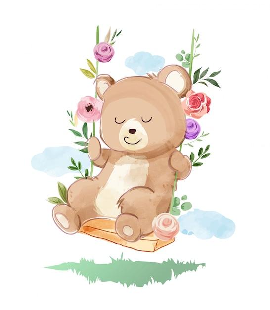 Urso fofo jogando balanço com flores Vetor Premium