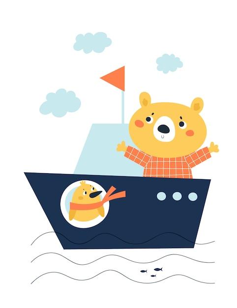 Urso infantil fofo e pássaro chique no barco navio isolado no branco Vetor Premium