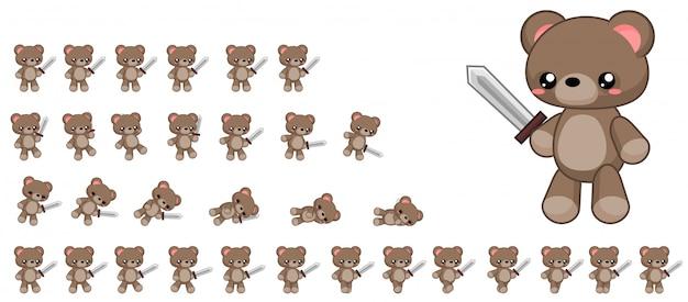 Urso jogo sprite Vetor Premium