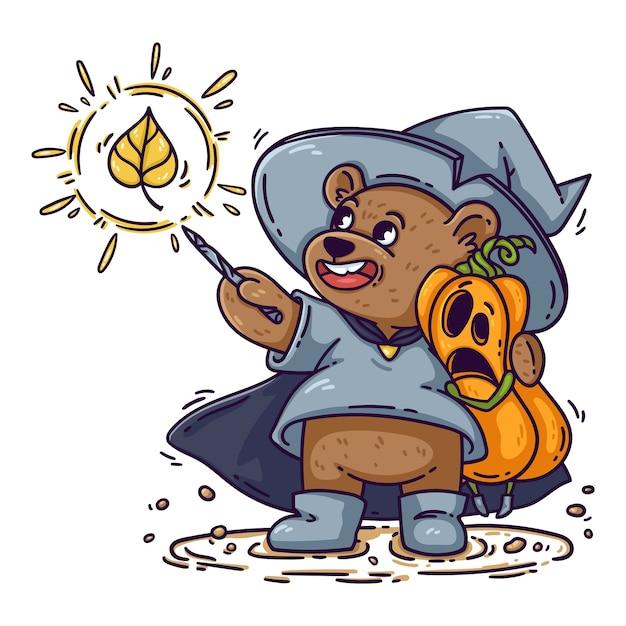 Urso mágico com chapéu de bruxa, capa de chuva e botas, abraços de abóbora chocada de halloween. o mago lança feitiço com varinha mágica. garoto engraçado é isolado no fundo branco, para cartaz, cartão. Vetor Premium