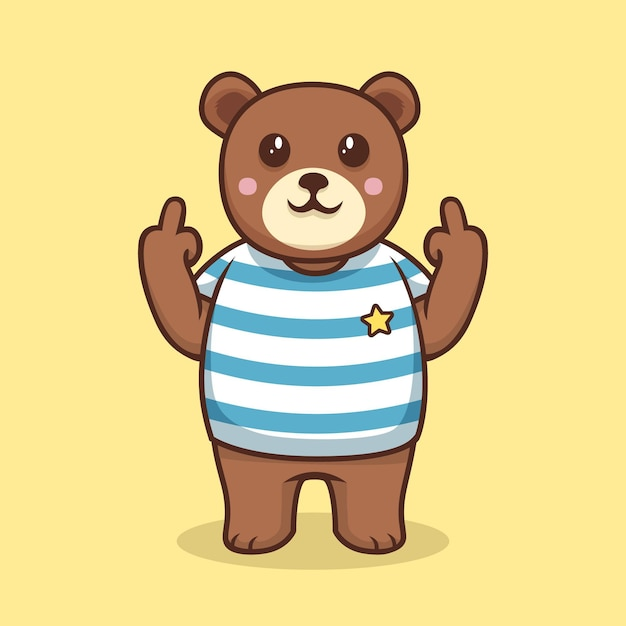 Urso mostrando o símbolo de foda-se Vetor Premium