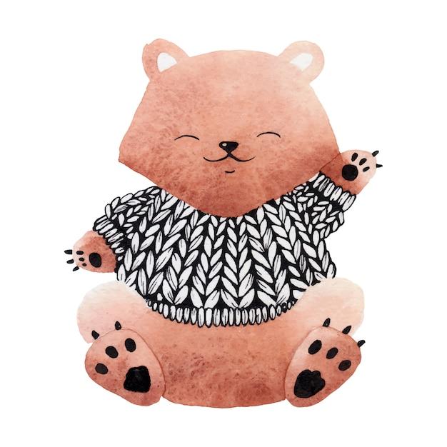 Urso na camisola. Vetor Premium