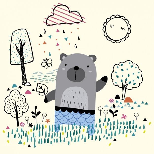 Urso na ilustração jardim Vetor grátis