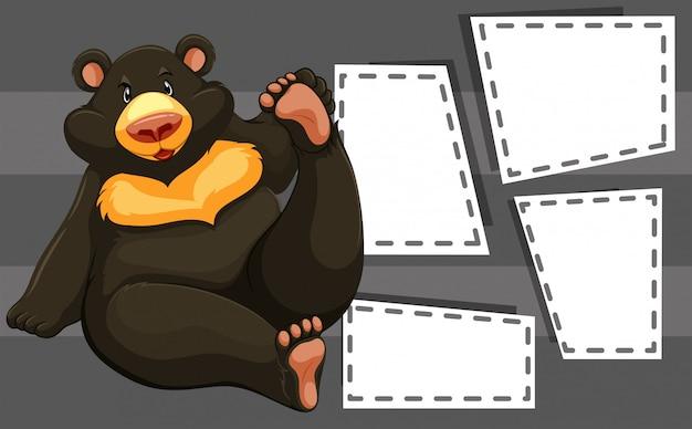 Urso no modelo de nota Vetor grátis