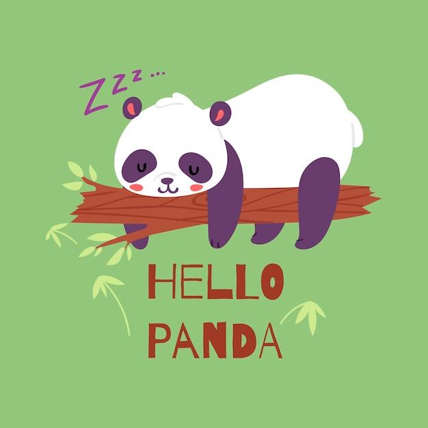 Urso panda dormindo no galho de árvore. Vetor Premium