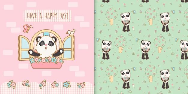 Urso panda kawaii bonito com padrão transparente floral sem costura Vetor Premium