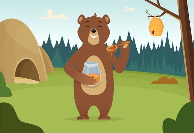 Urso pardo com desenho de mel Vetor Premium