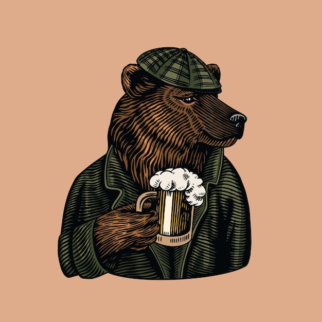 Urso-pardo com uma caneca de cerveja. Vetor Premium