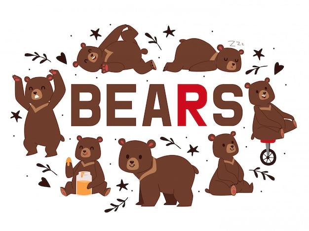 Urso pardo dos desenhos animados. teddy em pose e atividades diferentes Vetor Premium
