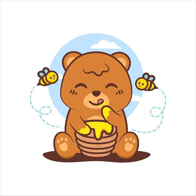 Urso pardo fofo sentado e saboreando mel Vetor Premium