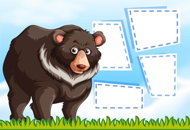Urso pardo no modelo de nota Vetor grátis