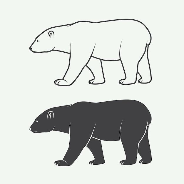 Urso polar branco ártico Vetor Premium