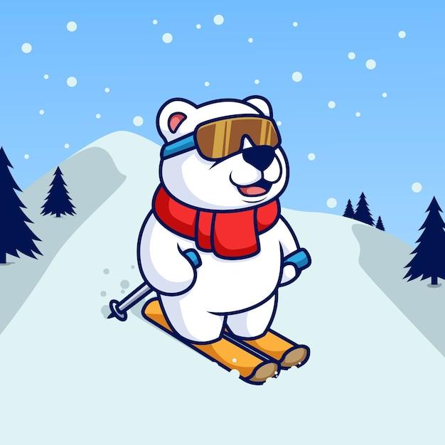Urso polar brincando de embarque de esqui Vetor Premium