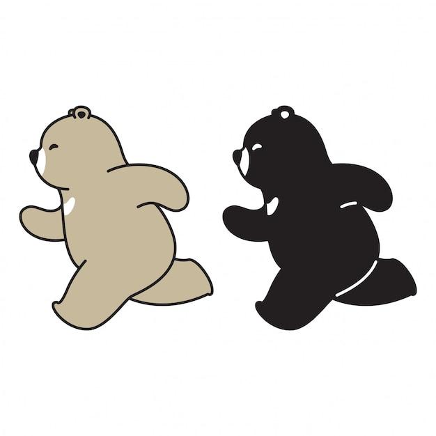 Urso Polar Correndo Dos Desenhos Animados Vetor Premium