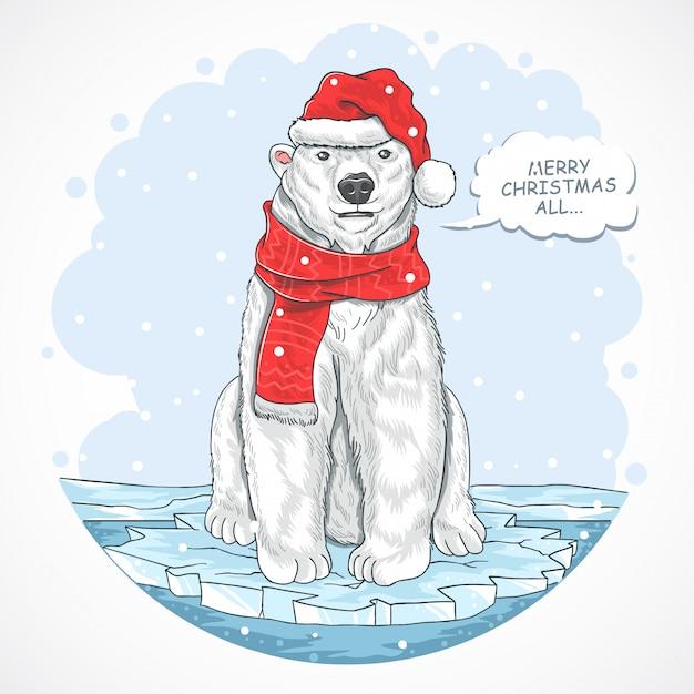 Urso polar do natal papai noel Vetor Premium
