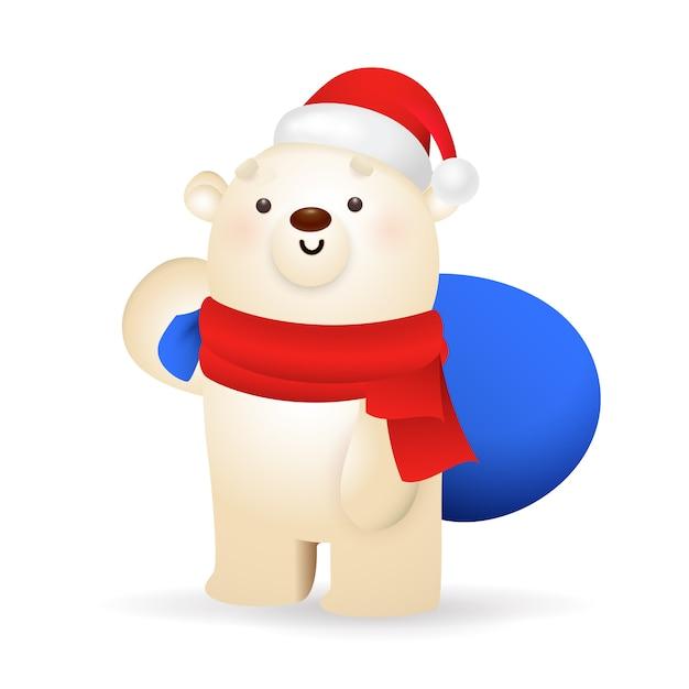 Urso polar doce carregando presentes de natal Vetor grátis