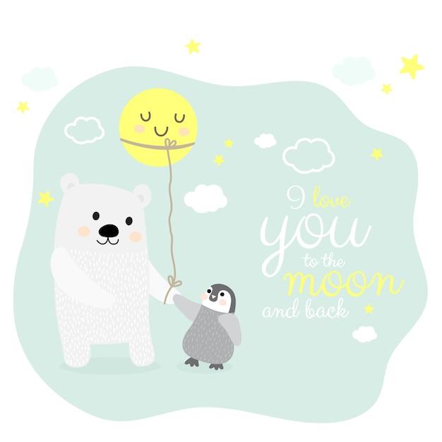Urso polar e pinguim com personagem de desenho animado da lua Vetor Premium