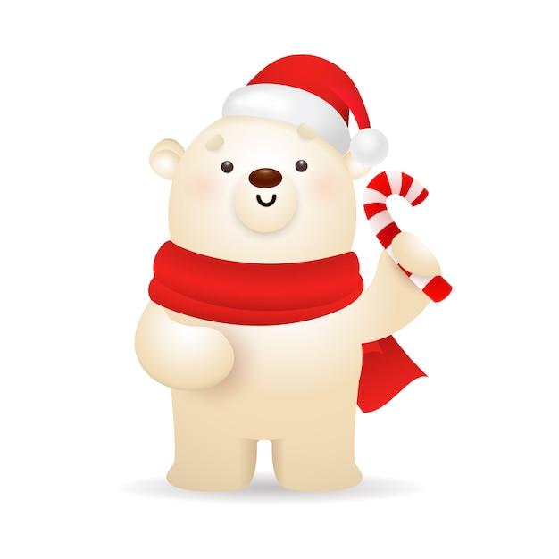 Urso polar engraçado desejando feliz natal Vetor grátis