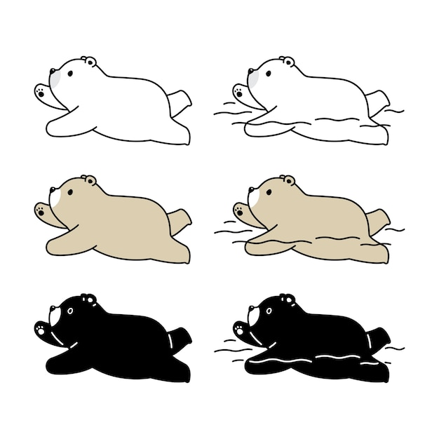 Urso polar natação teddy cartoon ícone Vetor Premium