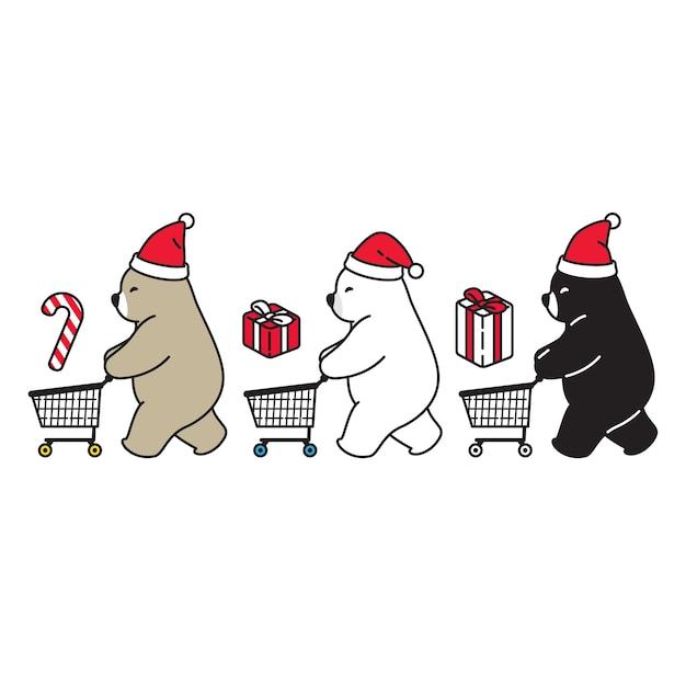 Urso polar natal santa claus carrinho de compras Vetor Premium