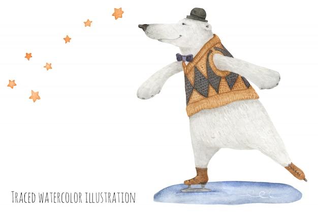 Urso polar patinar sob as estrelas Vetor Premium