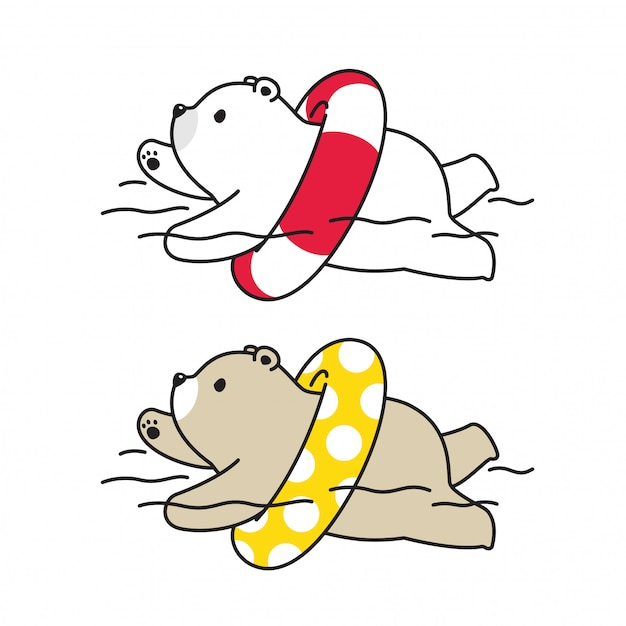 Urso polar piscina anel ilustração Vetor Premium