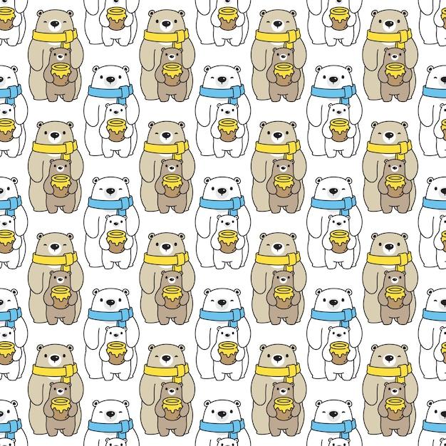 Urso polar seamless pattern ilustração dos desenhos animados de mel Vetor Premium