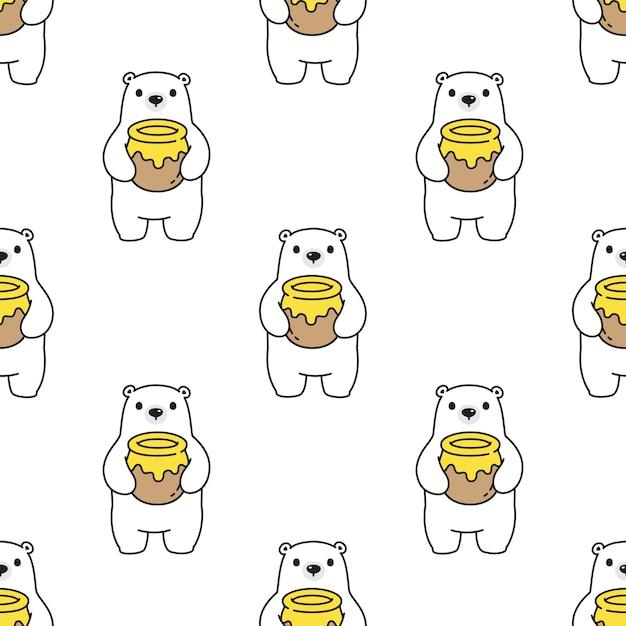 Urso polar sem costura desenho de peluche de mel Vetor Premium