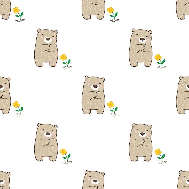 Urso polar sem costura flor desenho animado de pelúcia Vetor Premium