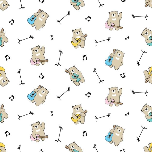 Urso polar sem costura padrão guitarra ilustração dos desenhos animados de pelúcia Vetor Premium