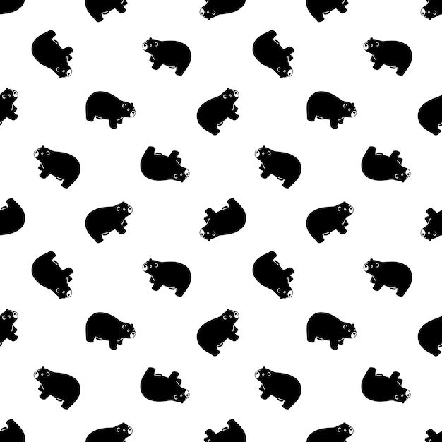 Urso polar sem costura padrão ilustração de ursinho Vetor Premium