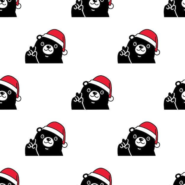 Urso polar sem costura padrão natal chapéu de papai noel Vetor Premium
