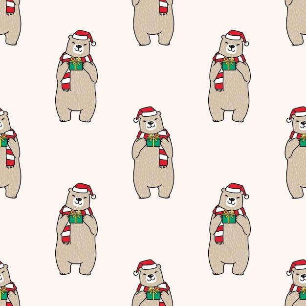 Urso polar sem costura padrão natal ilustração do papai noel Vetor Premium