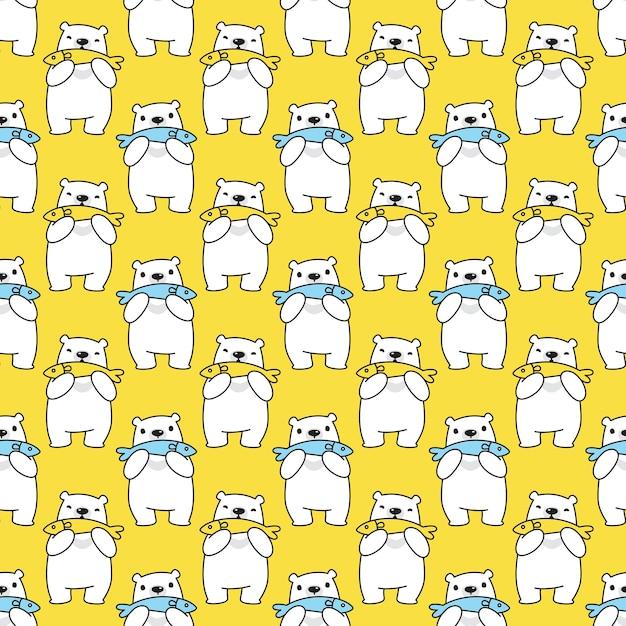 Urso polar sem costura padrão peixe desenho animado Vetor Premium